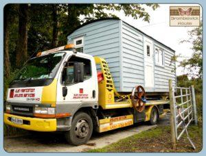 Blue Hut being delivered