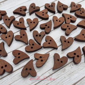 Bramblewick House Wooden Heart Button