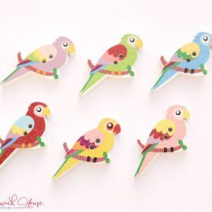 Bramblewick House Wood Parrot Buttons