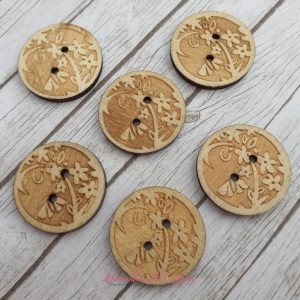 Bramblewick House Round Flower Button Wooden