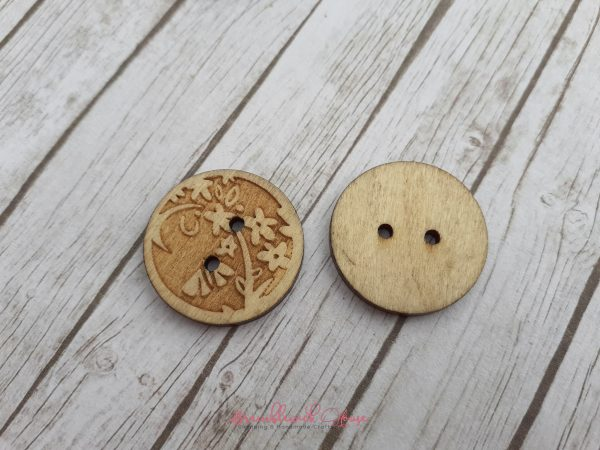 Bramblewick House Round Flower Button Wooden